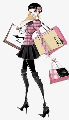 Shopping girl PNG and Clipart Fashion Art, Trendy Fashion, Girl Fashion, Love Fashion, Fashion Design, Fashion Girl Images, Illustration Mode, Illustration Fashion, Fashion Illustrations