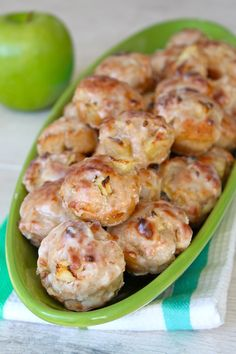 Baked Apple Fritters - chunks of apples nestled in a chewy dough that's BAKED to crispy perfection and coated in a sweet apple cider glaze Apple Fritter Recipes, Donut Recipes, Fruit Recipes, Apple Recipes, Sweet Recipes, Baking Recipes, Dessert Recipes, Apple Fritter Bread, Baked Apple Fritter Donut Recipe