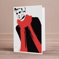 A7 5x7 Blank Greeting Card Modern Red Scarf Menswear Fashion