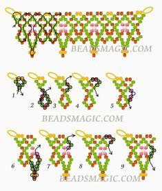 Free pattern for beaded necklace Masai U need: seed beads - Folkloreschmuck Beading Patterns Free, Beading Tutorials, Free Pattern, Bead Patterns, Weaving Patterns, Color Patterns, Knitting Patterns, Seed Bead Jewelry, Seed Beads