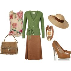 This is a sweet outfit, but I think flat shoes would fit it better!