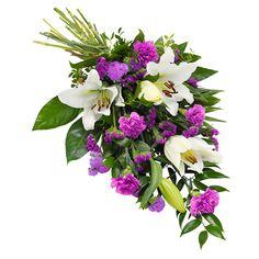 Bårebuket i lilla og hvide farver