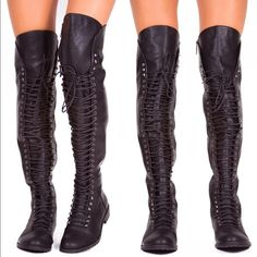 "Thigh High Flat Boots Brand new thigh high black flat boots, comfort and a rocking style! Features a lace-up front design, a long side zipper closure and a cushioned insole for comfort. Made out of faux leather, fits true to size and heel height is 1"". Shoes Over the Knee Boots"
