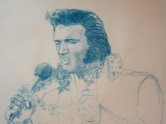 Elvis 'Aloha' Original Pencil Drawing by Adam Tobias