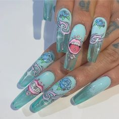 Blue to Light Blue Jelly Nails Gradient with Biker Chic Graffiti Style Art Sassy Nails, Edgy Nails, Grunge Nails, Stylish Nails, Swag Nails, Bling Acrylic Nails, Summer Acrylic Nails, Best Acrylic Nails, Summer Nails