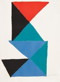 """Sonia Delaunay (1885-1979) (French) Untitled Triangular Composition  lithograph printed in colors signed in pencil  lower right Thick wove paper Full margins in excellent condition  25.6"""" x 19.3"""" 650mm x 490mm 65 x 49 cm  Sonia Delaunay was a Jewish-French artist who, with her husband Robert Delaunay and others, co-founded the Orphism art movement, noted for its use of strong colors and geometric shapes. Her work extends to painting, textile design and stage set design. She was the first…"""
