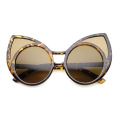 bcf9f54c62 Womens High Fashion Oversized Window Lens Round Cat Eye Sunglasses