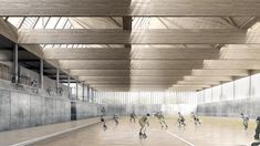 Camp del Ferro sports complex 2015 DataAe Barcelona Sports playing court interior visualisation