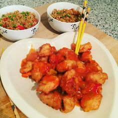 Dairy free sweet and sour battered chicken and egg fried rice #dairyfree