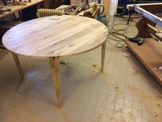 dining table, round, massive wood, handmade, oak, custom made, elegant, rustic by Yabarrdesign on Etsy https://www.etsy.com/listing/290158797/dining-table-round-massive-wood-handmade