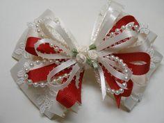 U Pick IVORY Cream Satin Red Hair Bow Big LRG by HareBizBows, $12.99