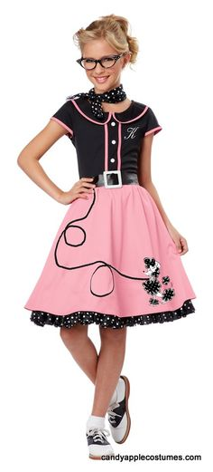 Child's Pink 50's Sweetheart Costume - Candy Apple Costumes - Pink Ladies and T-Birds Costumes