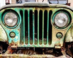 Old Green Willys Jeep front grill Photograph by CaraFullerPhotos