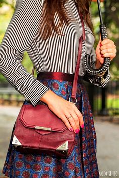 Not only does this long-strap shoulder bag from Alexander Wang perfectly complement this Kenzo skirt, it also frees up my hands to type when I'm glued to my mobile phone answering work e-mails first thing in the morning.