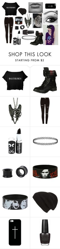 """Black Veil Brides Crop Top"" by abipatterson on Polyvore featuring Soda, Disney, River Island, Phase 3, Casetify and OPI"