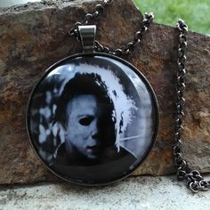 Micheal Myers Halloween image glass pendant necklace by SequoiaVibes on Etsy