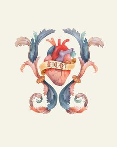 Anatomical heart MOM Tattoo card by MomeRathGarden on Etsy, $4.00 #tattoo #momtattoo #anatomicalheart