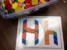 Alphabet Literacy Center Ideas (including pattern block letter patterns)