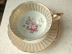 Antique English tea cup and saucer, vintage Royal Stafford pink rose blue and gold tea set, bone china tea cup, blue tea cup set.
