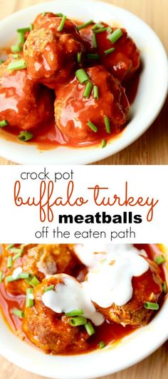 crock pot buffalo turkey meatballs are perfect for an easy dinner or game day!: