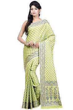 Chandrakala Women's Banarasi Cotton Silk Saree with Unstitched Blouse Piece - Green