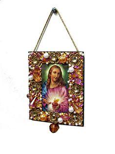 Mini estandarte - Sagrado Coração de Jesus - Dourado