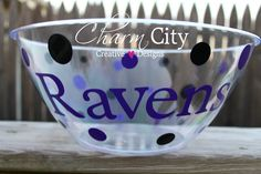 Baltimore Ravens Inspired Personalized Snack/popcorn bowl by ahindle78 on Etsy https://www.etsy.com/listing/117187198/baltimore-ravens-inspired-personalized