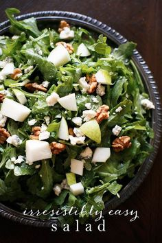 Easy salad recipe with white wine vinaigrette. Perfect for an easy weeknight dinner.