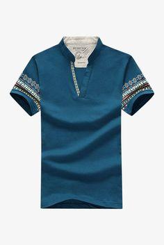V-Neck Ethnic Printed T-shirt