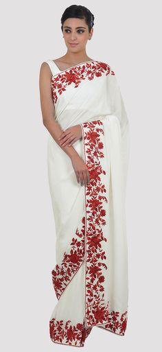 Ivory- Red Parsi Gara Hand Embroidered Pure Crepe Saree