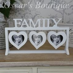 Lovely family heart frame with space for 3 photos.   #family #mothersday #giftideas #mothersdaygiftideas   http://www.oscarsboutique.co.uk/family-three-heart-wooden-photo-frame-975-p.asp