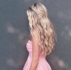 Fishtail halo half up hairstyle
