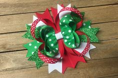 Christmas hair bow  , 5 inch Hair Bow, Glitter Christmas hair bow ,  hair bow , Christmas hair clip , Christmas hairbow , hair bow for girs