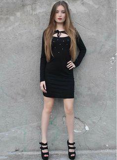 Vestido de Punto Negro MS2138 Black, Dresses, Fashion, Types Of Dresses, Black Gowns, Short Dresses, Black Dots, Knit Dress, Gowns
