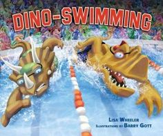 Plant-eating dinosaurs compete against meat-eating dinosaurs at a swimming meet.