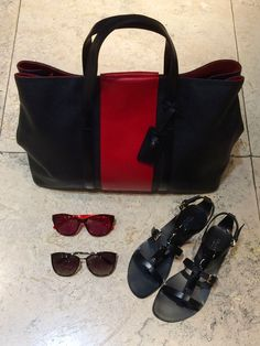 "Travel handbag in black and red | MaxMara ""Anna I"" sunglasses in red acetate 