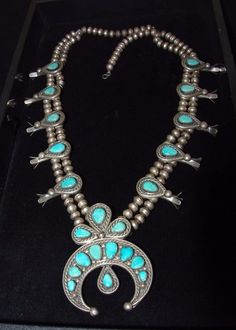 Old Pawn Navajo Turquoise Squash Blossom Necklace, Sterling Silver, Unmarked? | Jewelry & Watches, Ethnic, Regional & Tribal, Native American | eBay!