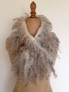 Nunofelted scarf natural grey Wensleydale /Gotland by Wolwit Matted Hair, Nuno Felting, Needle Felting, Creative Textiles, Nuno Felt Scarf, Textile Fiber Art, Wool Art, Felting Tutorials, Handmade Felt