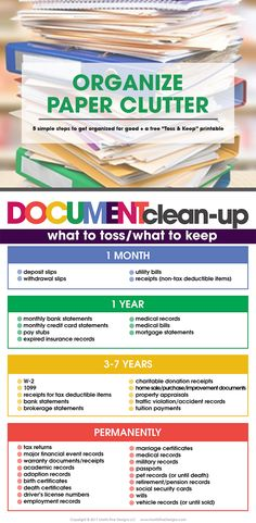 declutter Is paper clutter taking over your life? Organize paper clutter in 5 simple steps for good! Free printable list of what to toss and what to keep included! Organisation Hacks, Organizing Paperwork, Clutter Organization, Household Organization, Home Office Organization, Organizing Tips, Organizing Paper Clutter, Decluttering Ideas, House Cleaning Tips