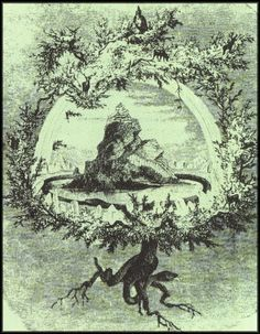 YGGDRASIL and THE NINE WORLDS of the NORSE GERMANIC COSMOS.  The ancient Northern Europeans did not see a simple universe with a heaven above and a hell below. Instead they saw a complex system of multiple planes and enclosures interconnected with our own