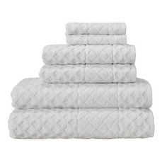 Enchante Home Glosy 6- Piece Luxury Quick Dry Turkish Towel Set,, White