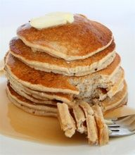 Banana Oatmeal Pancakes, no oil or sugar or dairy. They kinda taste like banana bread and are SUPER good with choc chips!