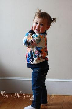 Floral Bomber Jacket: Tutorial and Free Pattern – Sew a Little Seam Sewing Patterns For Kids, Sewing For Kids, Baby Sewing, Pattern Sewing, Sew Baby, Clothes Patterns, Free Sewing, Dress Patterns, Sewing Ideas