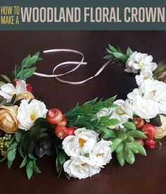 DIY CROWNS, great for WEDDINGS, parties, etc  : How to Make a Woodland Flower Crown (change selected parts for different / seasonal / costume crown) | DIY Hair Accessories