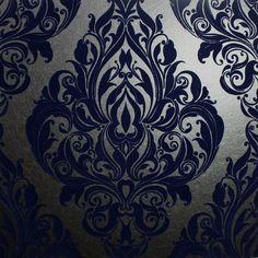 Kinky Vintage Blue Wallpaper - Naughty Noir by Graham  Brown