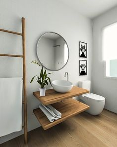 Love these natural elements. So calm and peaceful. Beach House Bathroom, Small Bathroom With Shower, Diy Bathroom Vanity, Wood Bathroom, Best Bathroom Designs, Bathroom Interior Design, Washbasin Design, Bathroom Storage Shelves, Upstairs Bathrooms