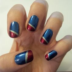 Captain America nails MegRyann ❤ liked on Polyvore featuring beauty products and nail care