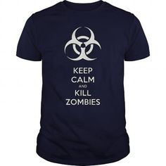 I Love Keep calm and kill zombies biohazard symbol toxic fallout waste sign 2 sides print T-Shirts