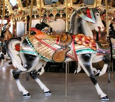 Carousel; black and white horse