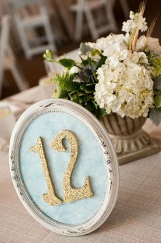 table number sign- silver instead of gold